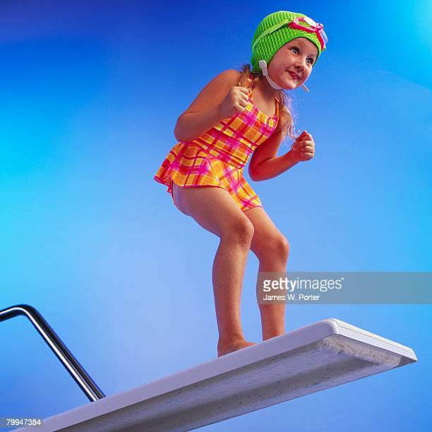 Young Girl Preparing to Pool Dive