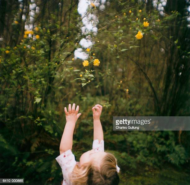 Young Girl Reaches for Flowers