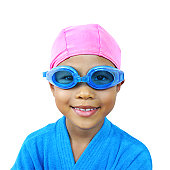 Young girl dressed for a swim