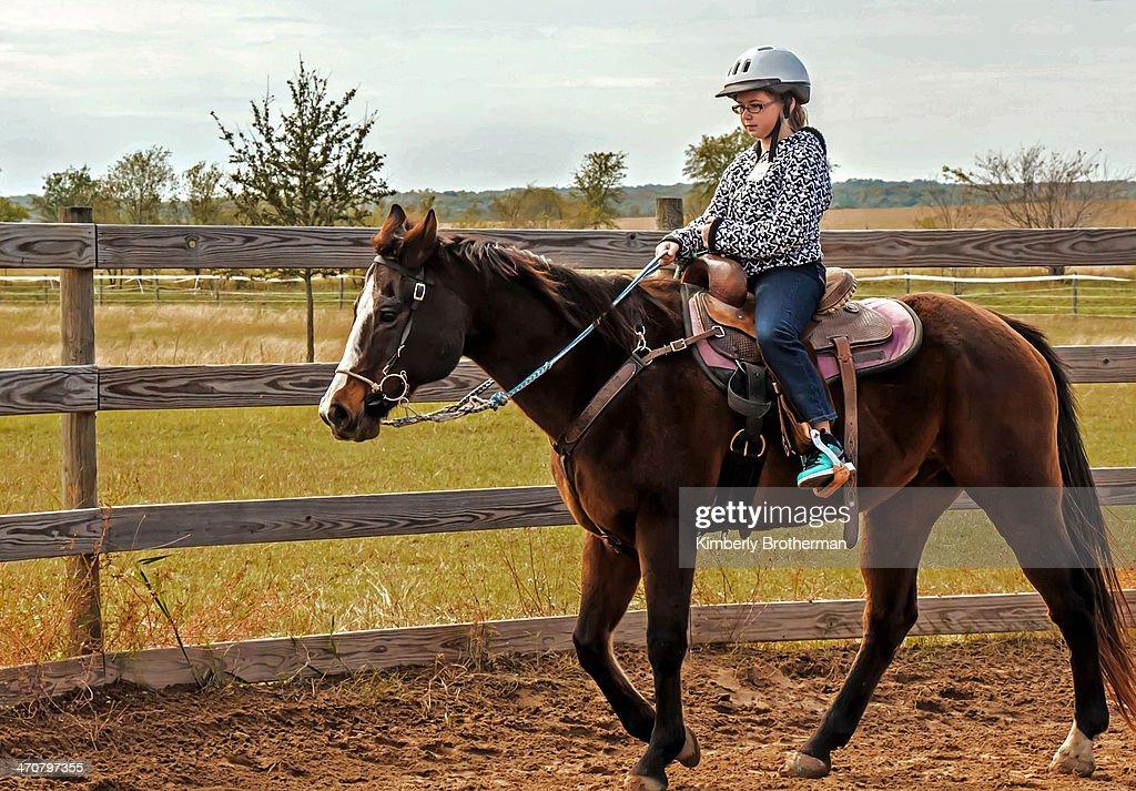 Young girl riding a horse : Stock Photo