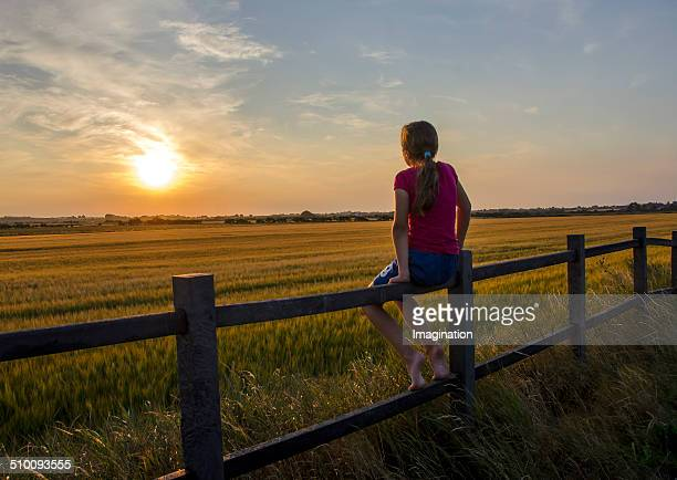 Young Girl Sitting on Fence