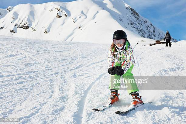 Young girl skiing, Les Arcs, Haute-Savoie, France