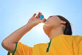 Young Girl Soccer - Back Lit Asthma Inhaler