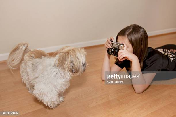 Young girl taking a picture of a Shih Tzu dog