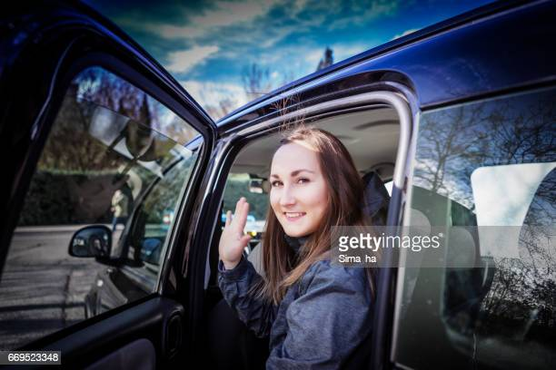 Young girl  trip by car
