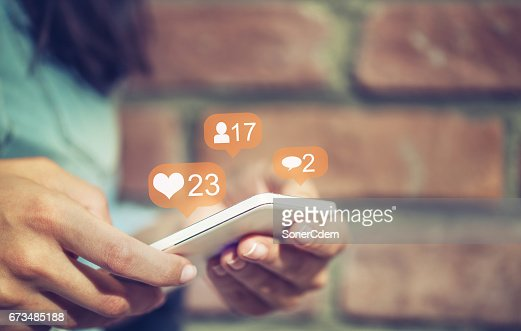 Young girl using smart phone,Social media concept. : Stock Photo