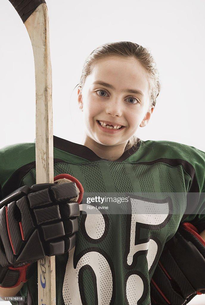 Young girl wearing sports gear, portrait