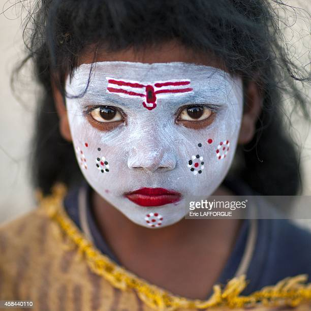 Young girl with shiva make up maha kumbh mela on February 7 2013 in Allahabad India