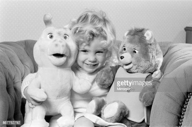 A young girl with soft toys left a Teddy Ruxpin toy 21st October 1986