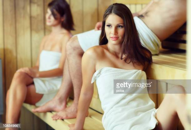 young girls and boy enjoying sauna