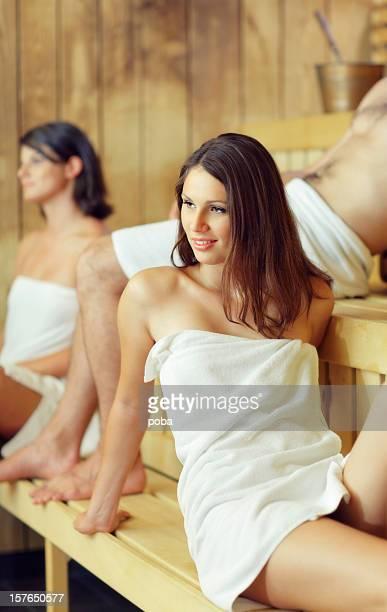 young girls and boy enjoying sauna