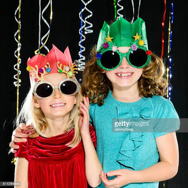 Young girls at a Christmas party