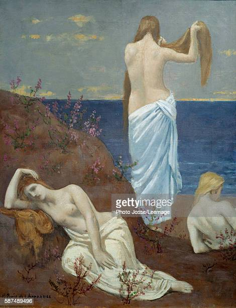 Young Girls at the Seaside Painting by Pierre Puvis de Chavannes 1879 061 x 047 m Orsay Museum Paris