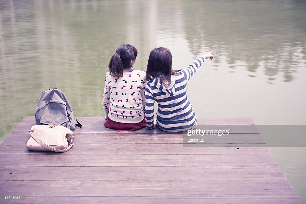 Young girls enjoy the nature : Stock Photo
