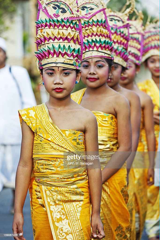 Young girls in temple procession, Mt Agung, Bali : Stock Photo