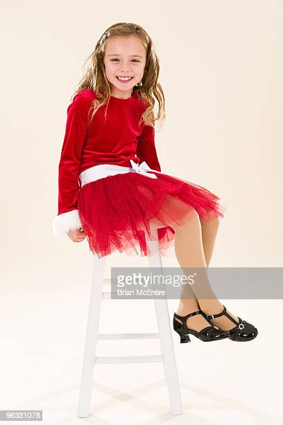 Young Girls Portrait in Red Dress