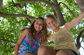 young girls together in a tree
