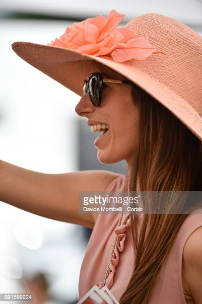 Young girls with hats during the Piazza di Siena Bank Intesa Sanpaolo in the Villa Borghese on May 27 2017 in Rome Italy