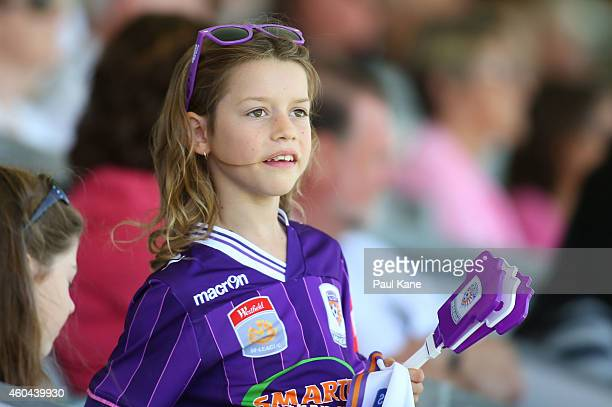 A young Glory fan shows her support during the WLeague semi final match between Perth Glory and Sydney FC at nib Stadium on December 14 2014 in Perth...