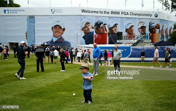 A young golfer takes a swing during day 2 of the BMW PGA Championship at Wentworth on May 22 2015 in Virginia Water England