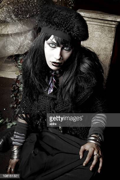 Young Gothic Dressed Woman Posing