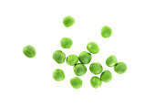 Young green peas on a white background, top view.