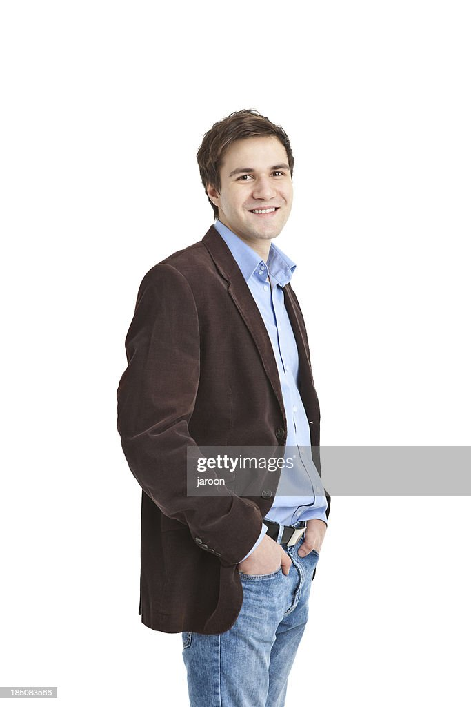 young handsome man in brown jacket : Stock Photo