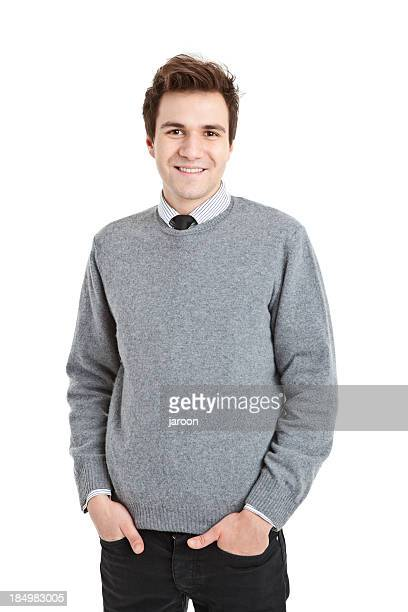 young handsome man in grey sweater