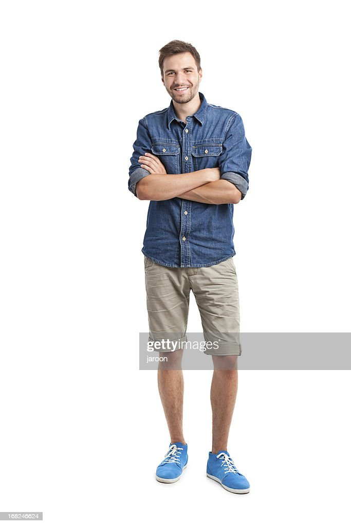 young handsome man in jeans shirt