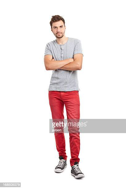 young handsome man in red trousers