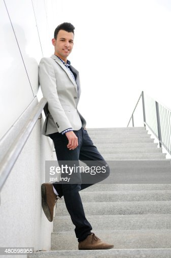 young handsome man, model of fashion, wearing jacket and shirt : Stock Photo
