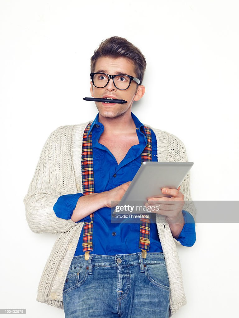 young handsome man with tablet computer