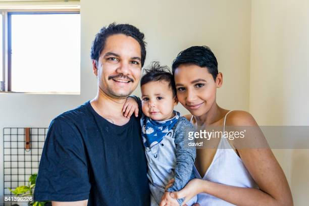 Young Happy Aboriginal Australian Family
