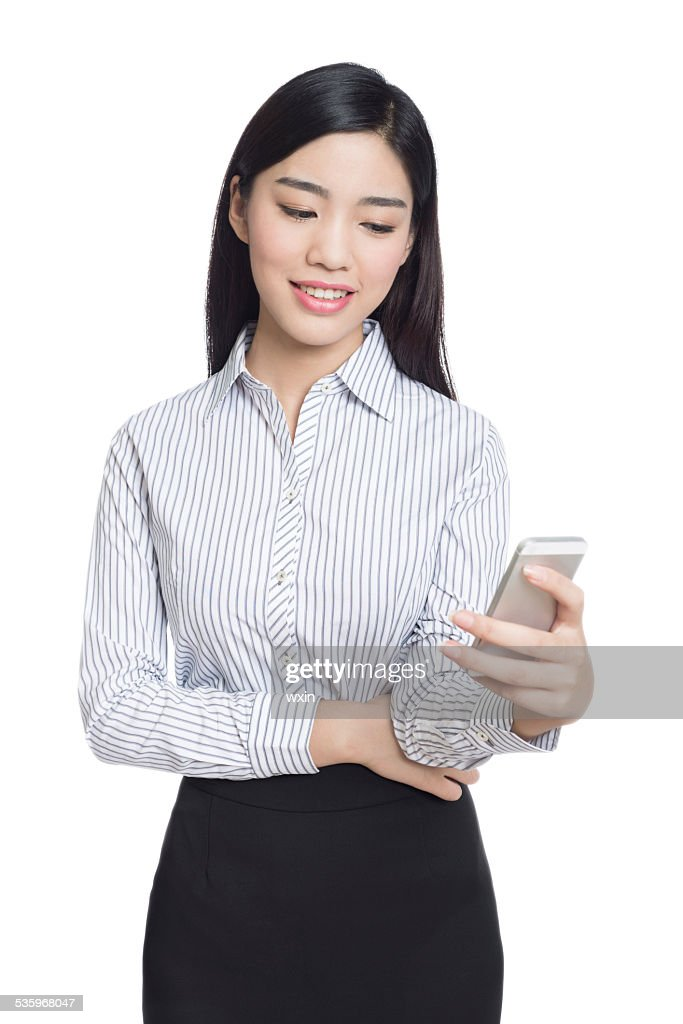 young happy business woman, chinese : Stock Photo