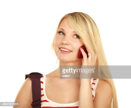 Young happy caucasian woman is calling : Stock Photo