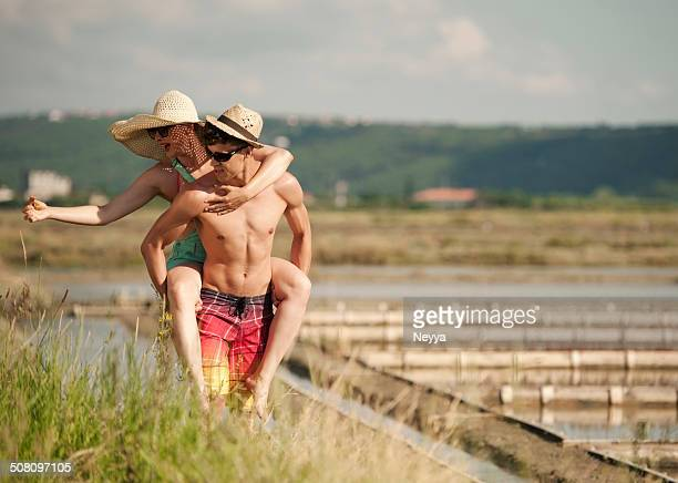 Young Happy Couple having Fun on the Saltpans