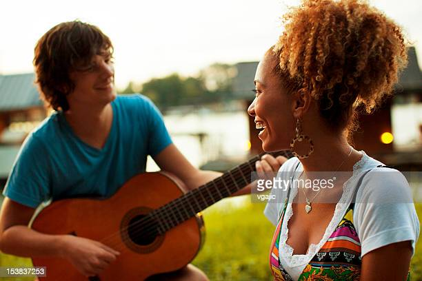 Young Happy Couple Having Fun Outdoors.