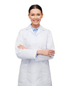 healthcare and medicine concept - smiling female doctor