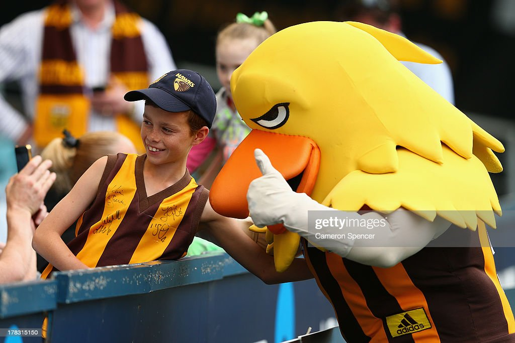 A young Hawthorn fan poses with mascot 'Hawka' during a Hawthorn Hawks AFL training session at ANZ Stadium on August 29, 2013 in Sydney, Australia.