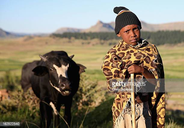 A young herd boy looks on during an outreach visit by charity workers from Sentebale on February 23 2013 in Morija Lesotho Sentebale is a charity...