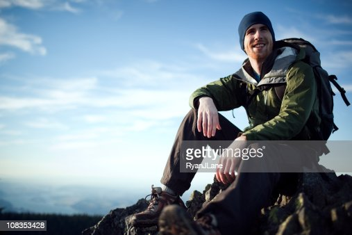 Young Hiker At Mountain Top