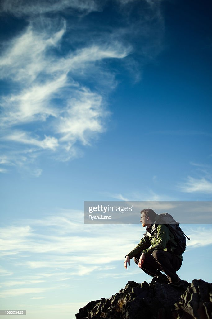 Young Hiker On Cliff Edge : Stock Photo