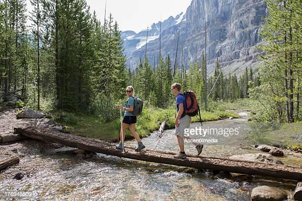 Young hikers cross log bridge above mtn creek