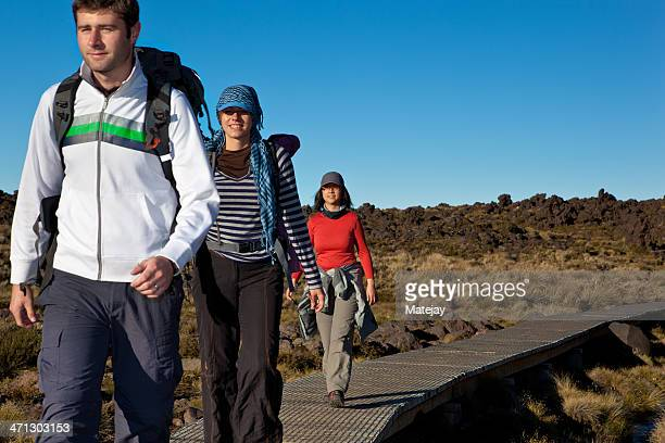 Young hikers in the Tongariro National Park, New Zealand