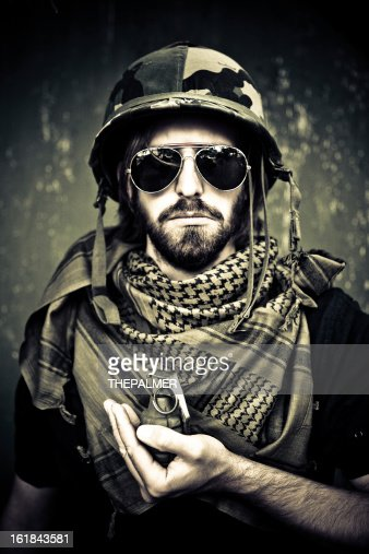 young hippie soldier