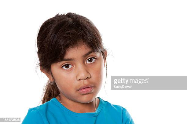 Young Hispanic Girl With Sad or Serious Face