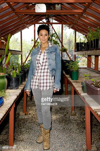 Young Hollywood Board Member/Actress Emmanuelle Chriqui visits Carson High School as part of Nature Works Everywhere Gardens on May 21 2014 in Carson...