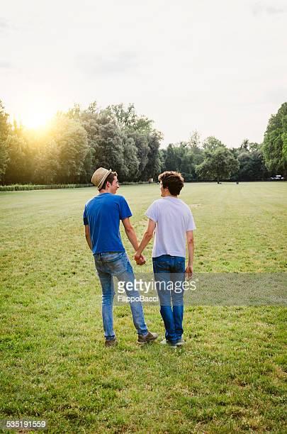 Junge Homosexuelles Paar im Park zusammen