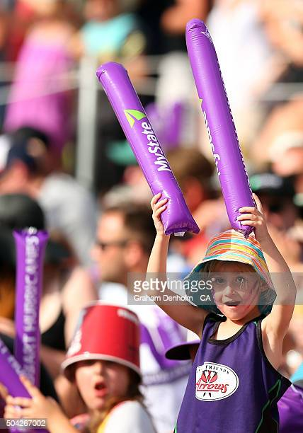 Young Hurricanes fans show their support during the Big Bash League match between the Hobart Hurricanes and the Perth Scorchers at Blundstone Arena...