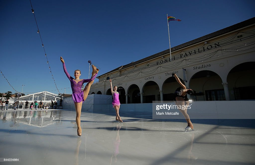 Young ice skaters perform tricks at Bondi Beach on July 2, 2016 in Sydney, Australia. Australia's only beachside ice rink is part of the Bondi Winter Magic Festival, which celebrates the beauty of Bondi during the winter months.